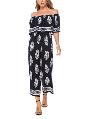 Off-the-shoulder Fashion Printed Jumpsuit