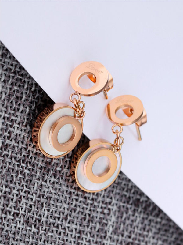 Rose Gold White Shell Double Ring Circle Earrings LOVE Earrings