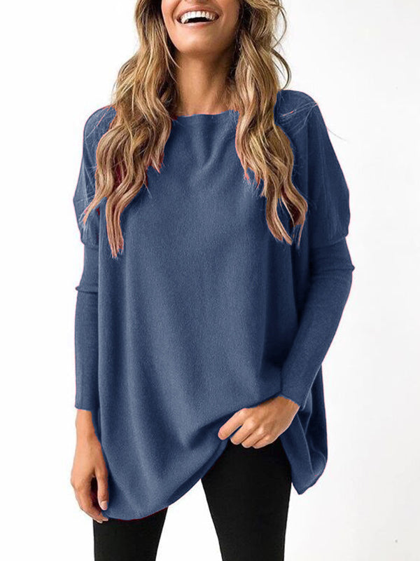 Long Sleeve Loose Top T-Shirt Solid Color