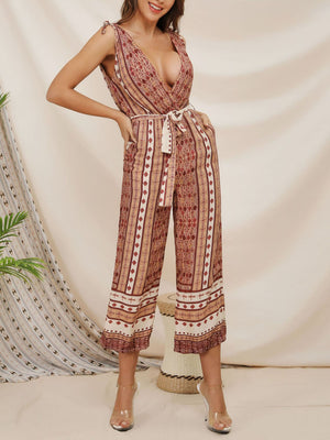 Fashion Print Deep V-neck Sexy Sling Jumpsuit Pants