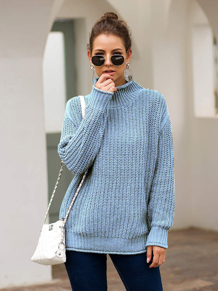 Autumn and Winter Women's Three-color Long-sleeved Turtleneck Sweater Loose Sweater