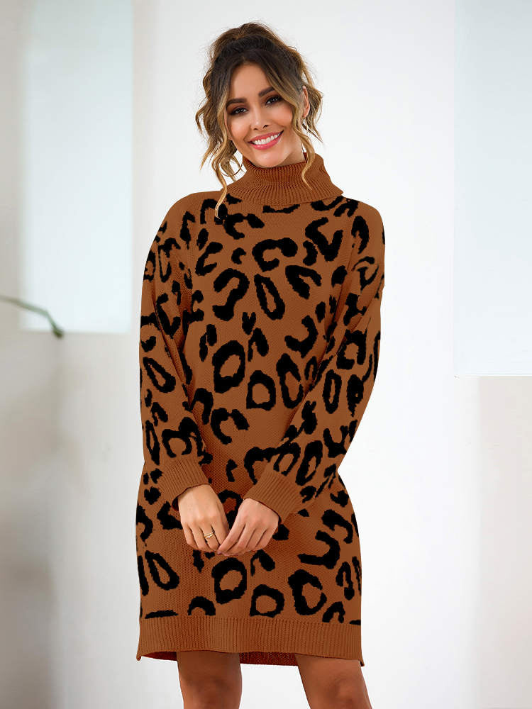 Autumn and Winter New Leopard-print Loose Knit Sweater