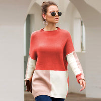 Autumn and Winter New Sweater Three-color Stitching Loose Lazy Wind Sweater Women's Clothing