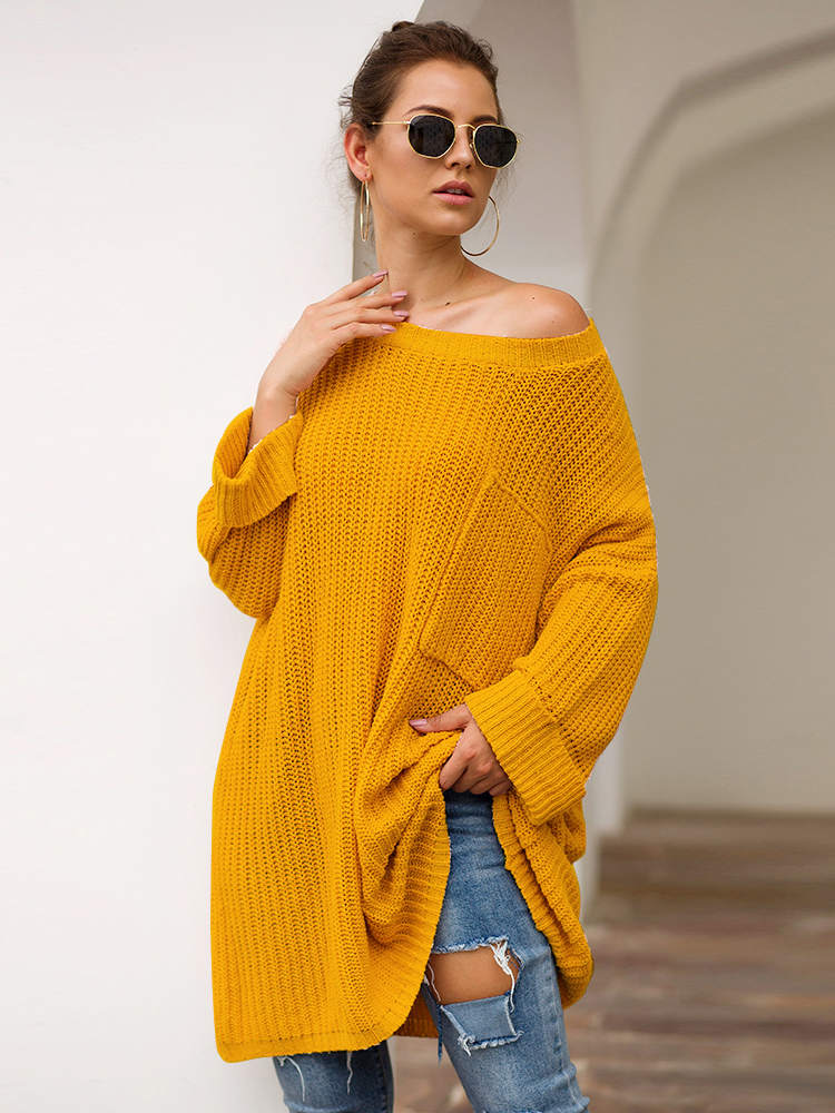 Autumn and Winter Sweater Three-color Long Lazy Wind Knit Sweater