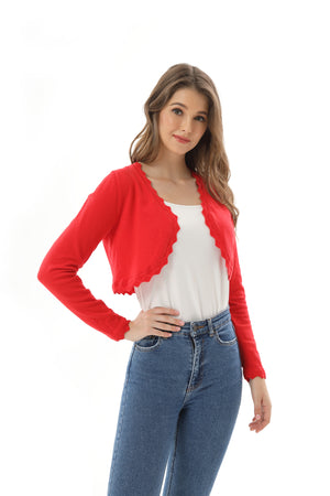Autumn New Women's Open Front Long Sleeve Cropped Cardigans Shrug Shoulder Bolero Sweater