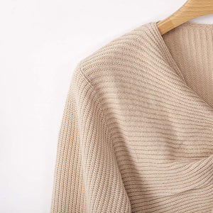 Autumn and Winter New Sweater Women's Three-color Cross Long-sleeved Umbilical Sexy Knit Top