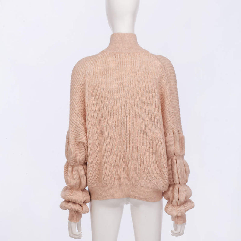 Autumn and Winter New Women's Four-color Lotus Root Sleeves Loose Knit Sweater