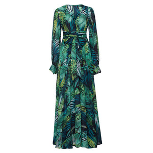 Lantern Sleeve V-neck Green Leaf Print Dress