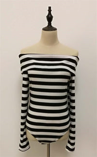 Sexy Word Collar Off-shoulder Long-sleeved Tight-fitting T-shirt