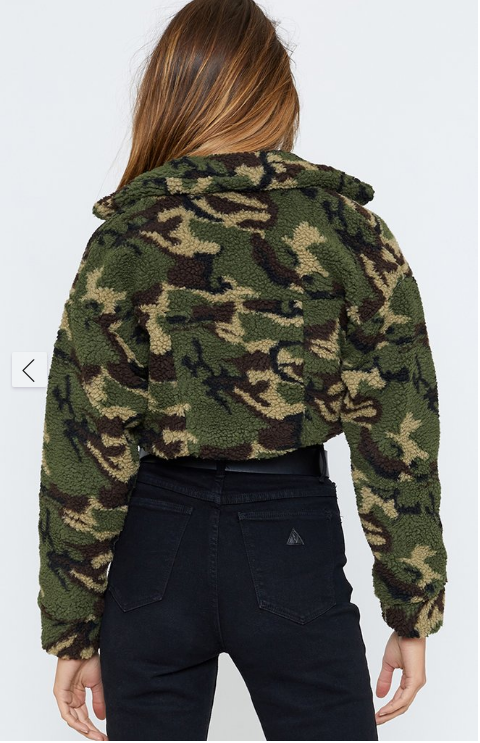 Camouflage Printed Lapel Short Long-sleeved Plush Coat