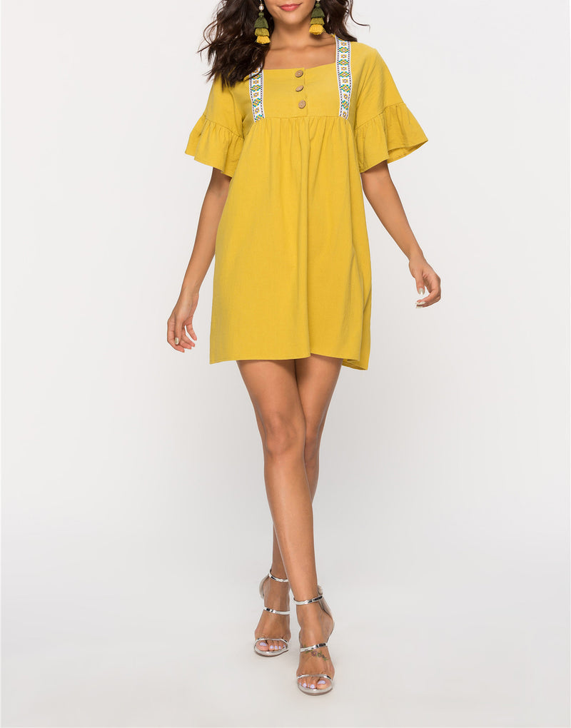 Square Collar Lotus Leaf Sleeve Loose Dress