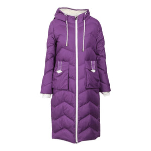 Winter Women's Colorblock Long Sleeve Hooded Down Jacket