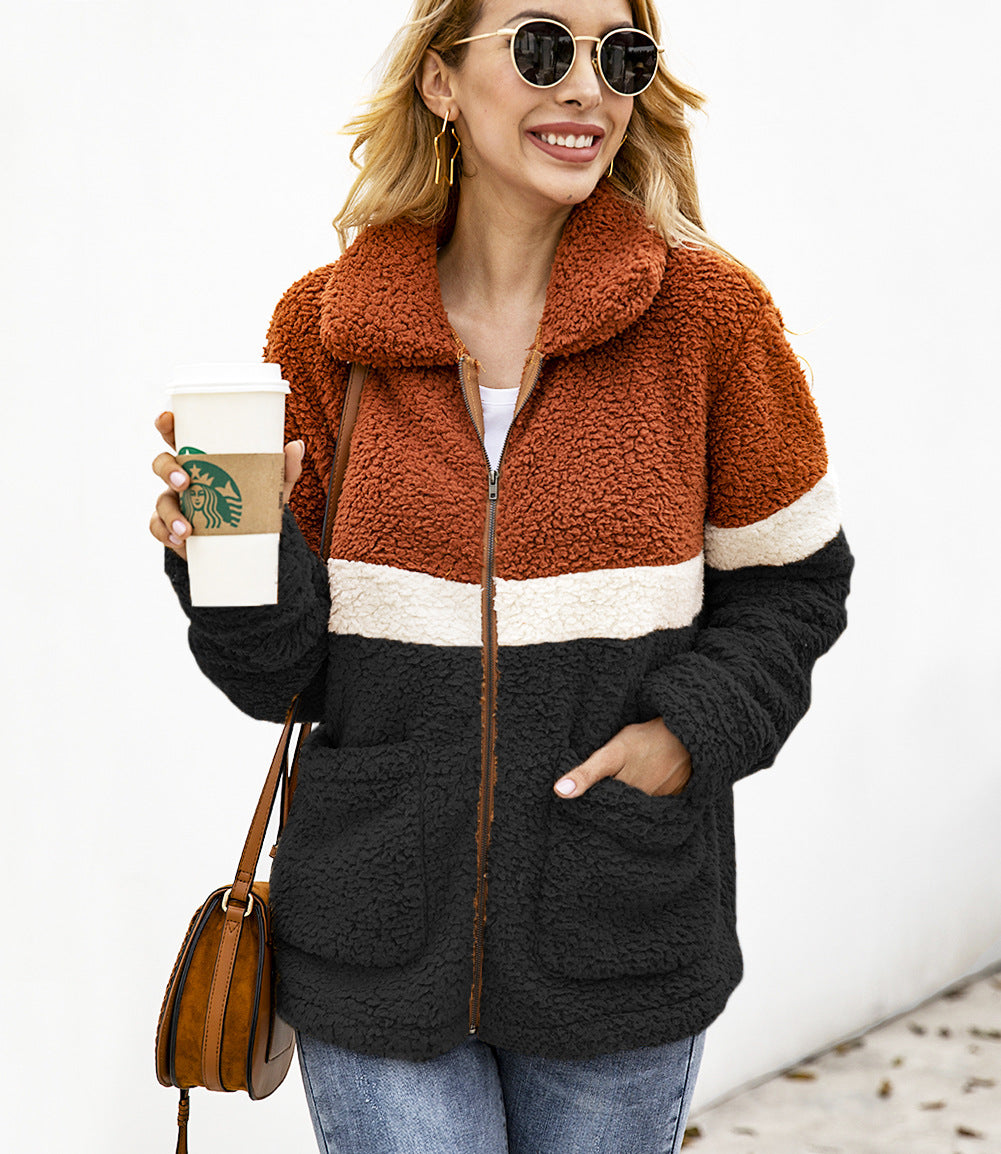 Fashion Plush Colorblock Pocket Women's Jacket Coat