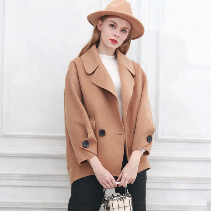 Winter Suit Collar Warm Long Sleeve Loose Wool Coat