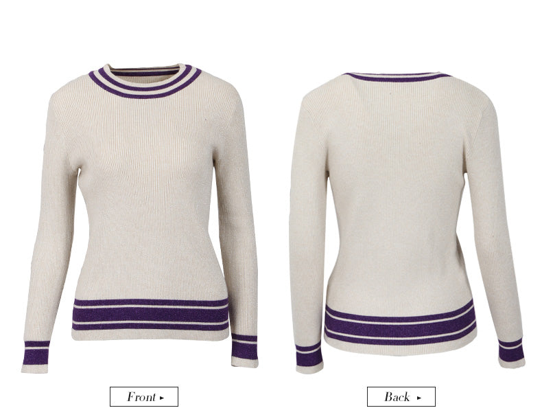 Winter Women's Tight-fitting Striped Sweater