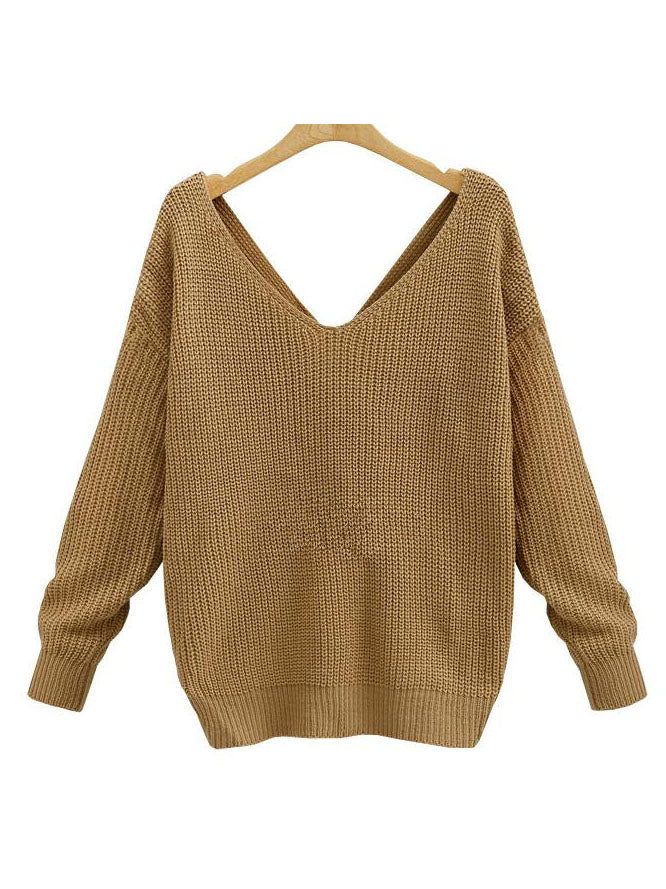 New V-neck Halter Sweater Back Irregular Cross Knotted Knitwear on Both Sides Wear Women's Clothing