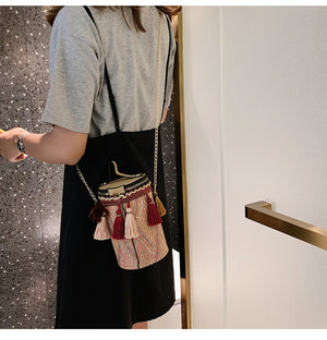 Fashion Bag Trend Chain Bucket Bag Hand Bag Shoulder Bag Girl National Wind Messenger Bag