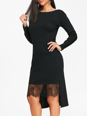 Round Neck Long Sleeve Lace Stitching Irregular Dress