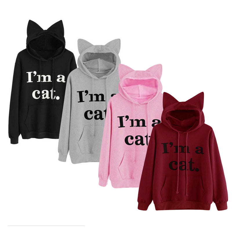 Letter Print Cat Ears Sweatshirt Women