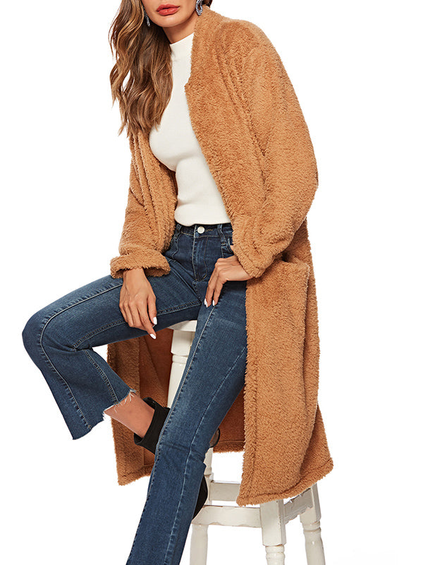 Women New Brown Long Plush Coat