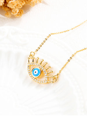 Copper Plated Evil Eye Pendant Clavicle Chain
