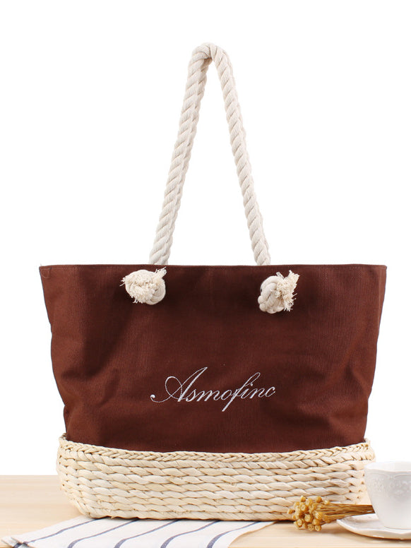 Canvas Embroidered Letter Shoulder Straw Bag Summer Vacation Beach Casual Weaving Handbag