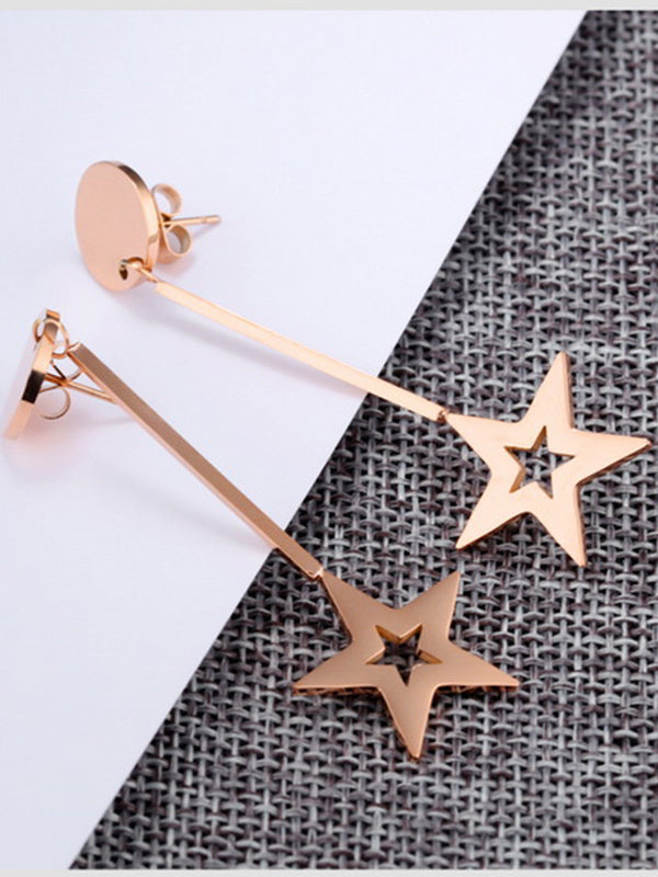 Long Temperament Simple Tassel Earrings Five-pointed Star Round Cake Earrings