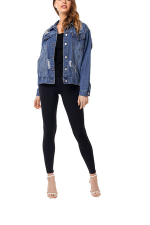 Frayed Hole Loose Fashion Denim Jacket Female