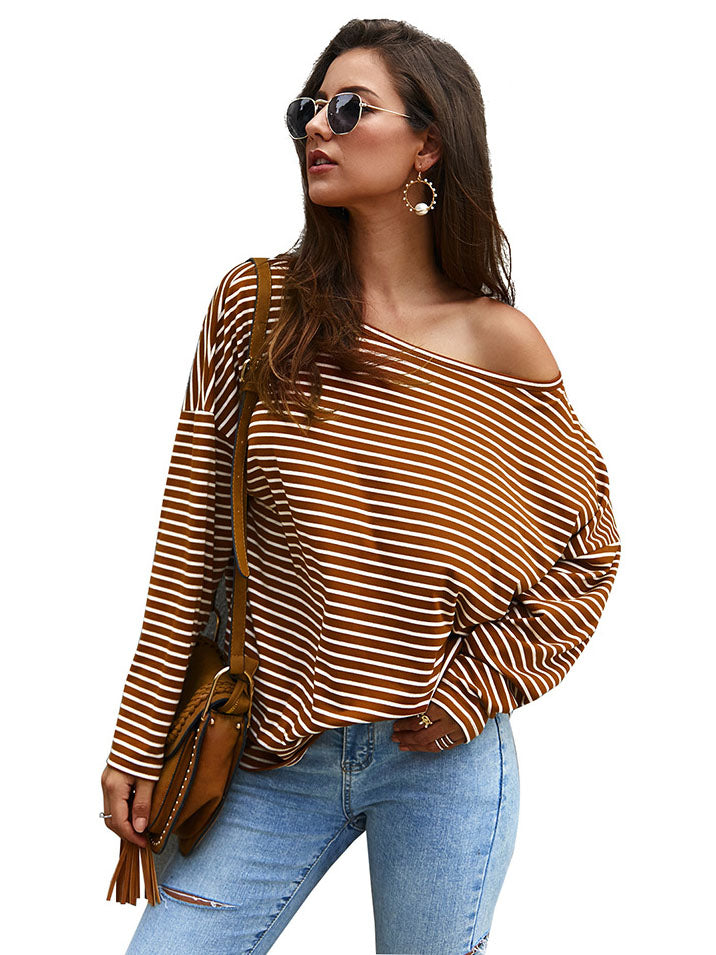 Independent Design Long-sleeved Striped T-shirt Sweater Autumn and Winter New Temperament