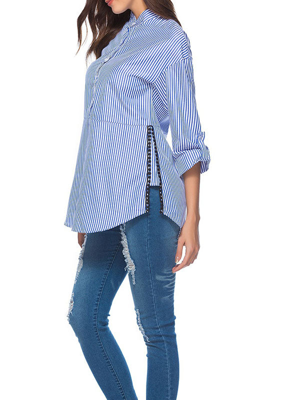 Side Stitching Lace Stripe Single-breasted Cropped Sleeve Shirt