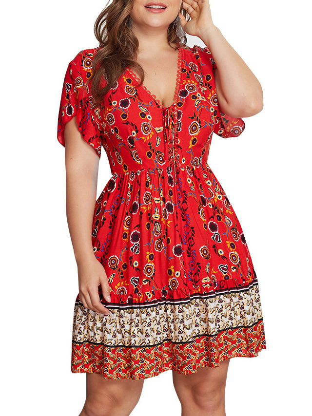 Large Size V-neck Print Dress