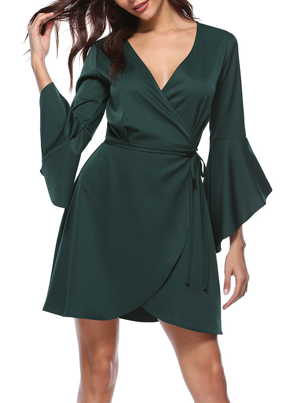 V-neck Flared Sleeve Dress