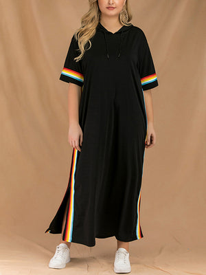 Fashion Slits and Large Size Striped Cross-dress