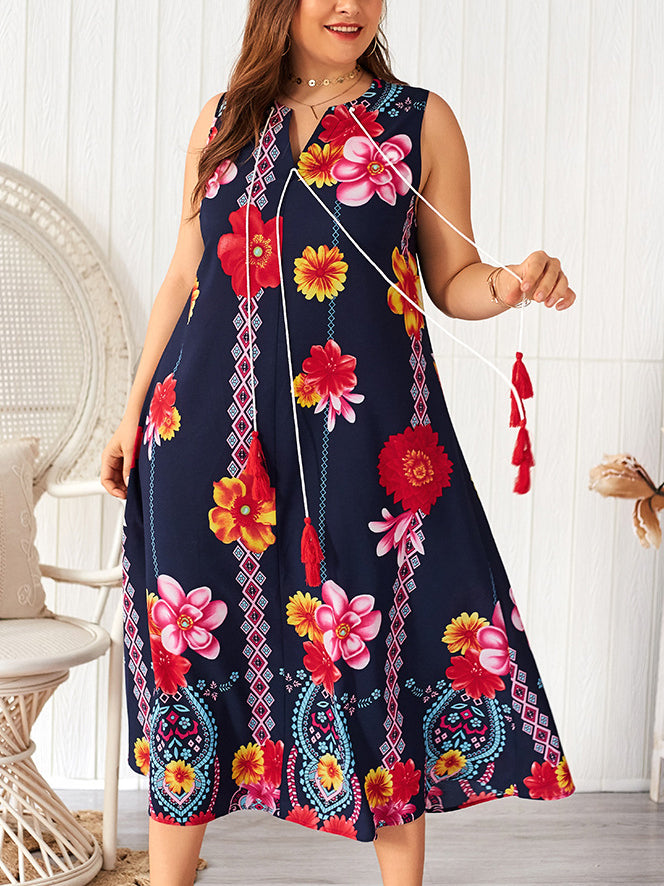 Printed Cotton Plus Size Dress