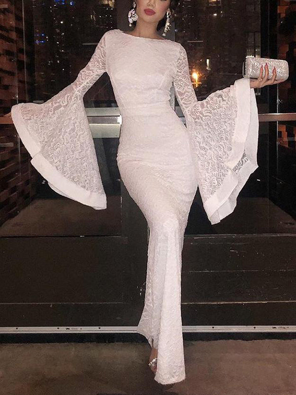Special Bell Sleeve White Lace Evening Dress