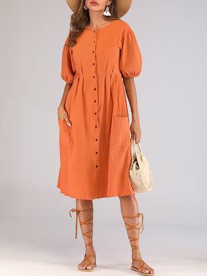 Orange Round Neck Lantern Sleeves With A Row Of Buckled Waist Holiday Cotton And Linen Dress