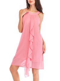 Chiffon Solid Color Off-Shoulder Sleeveless Tank Dress