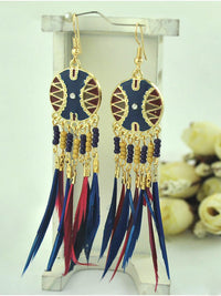 Baroque Feather Contrast Tassel Earrings