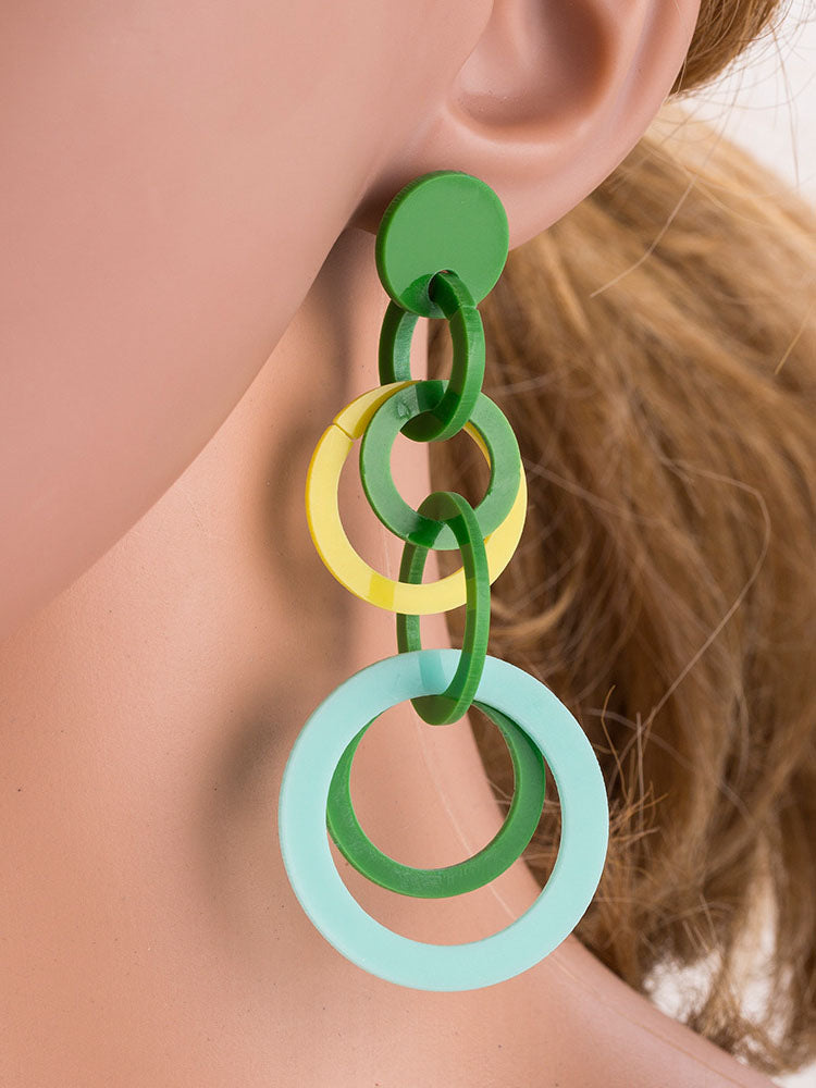 Fashion Geometric Acrylic Earrings Original Original Contrast Color Stitching Earrings
