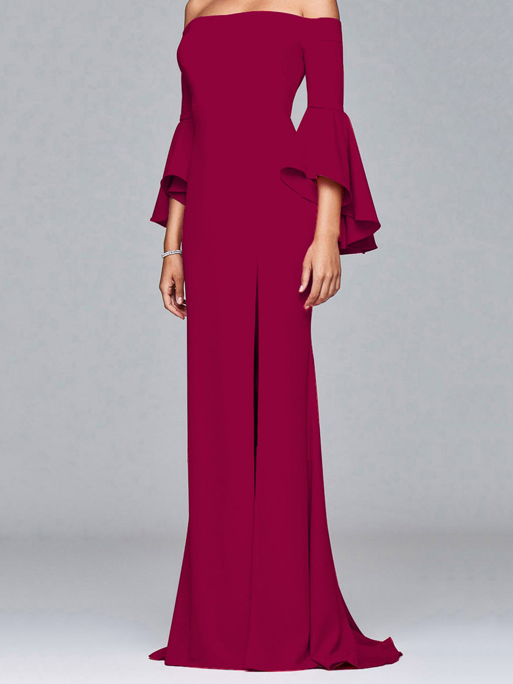 Sexy Word Collar Split Maxi Full Dress