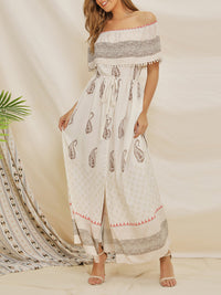 Bohemian Dress With One Shoulder Stitching Chiffon Print Dress