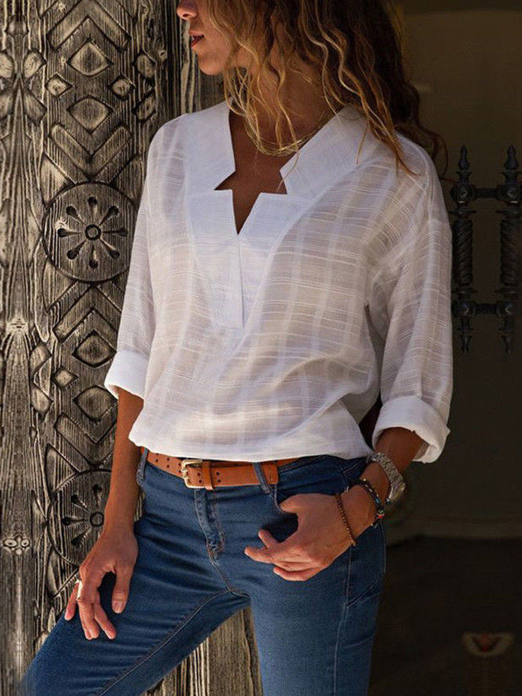 Long Sleeve Cotton and Linen V-neck Long-sleeved Shirt White Casual Top