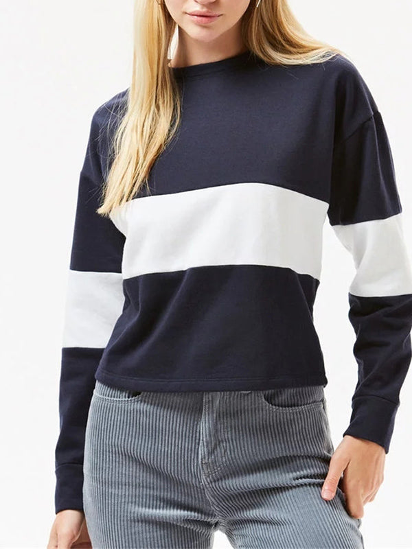 Contrast Stitching Round Neck Long Sleeve Casual Loose Pullover Sweater