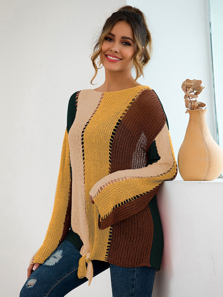 Autumn and Winter Women's Long-sleeved Color Matching Loose Sweater