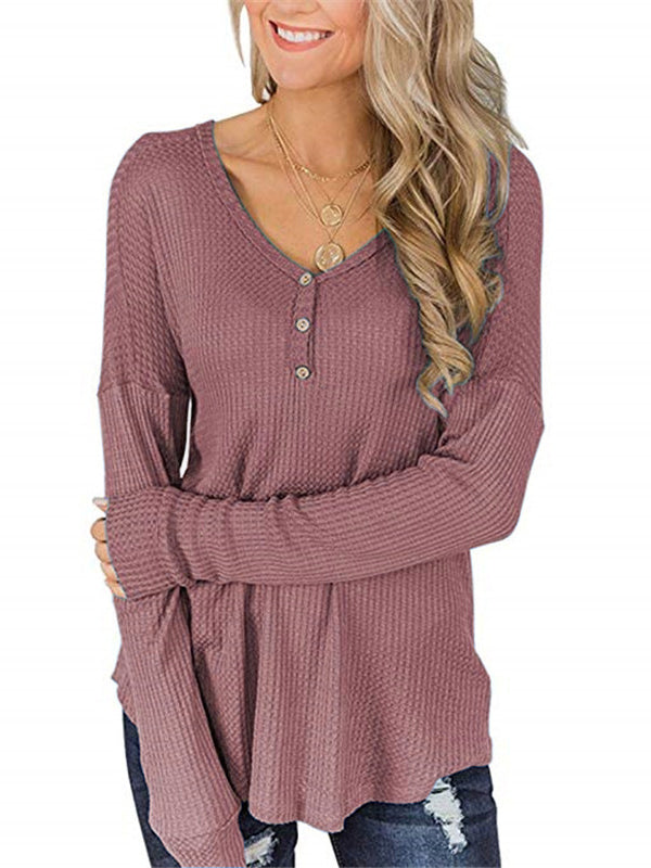Button Loose Waffle Long Sleeve T-Shirt