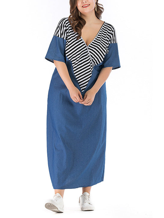Plus Size V-neck Long Striped Stitching Denim Dress