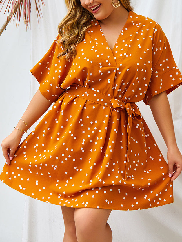 Plus Size Polk Dot Sexy Dress