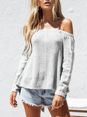 Sexy One-Shoulder Strapless Long-Sleeve Sweater
