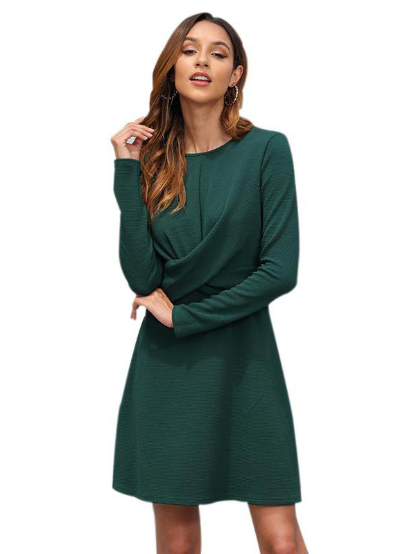 Autumn and Winter New Women's Temperament Fashion Round Neck Long-sleeved Dress