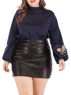Navy Blue Embroidery Sleeves Plus Size T-shirt Top